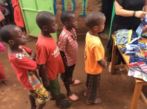 Little boys queue for underwear